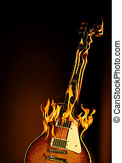 Flaming guitar - A burning electric guitar