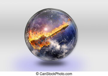 Flaming Guitar inside crystal sphere