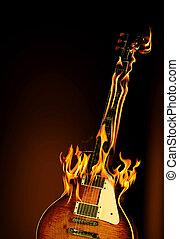 Flaming guitar - A burning electric guitar