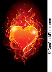 Flaming heart. Beautiful vector background on Valentine's...