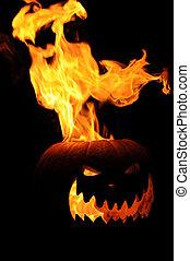 Flaming Jack O Lantern Pumpkin