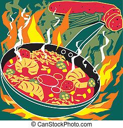 Flaming Jambalaya - Stylized art of cajun or creole cooking