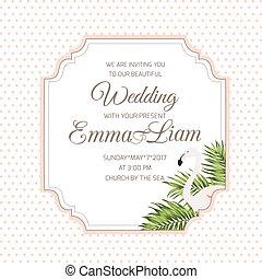 flaming, liście, ślub, tropikalny, zaproszenie, karta