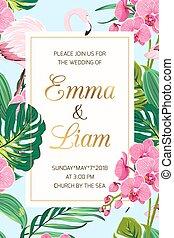 flaming, liście, ślub, tropikalny, zaproszenie, storczyk