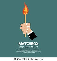 Flaming Match Stick In Hand Illustration.