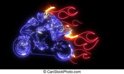Flaming motorcycle Ride laser animation light - Flaming...