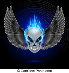 Flaming mutant skull - Mutant skull with long fangs, blue...