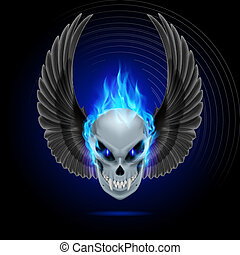 Mutant skull with long fangs, blue flame and raised wings