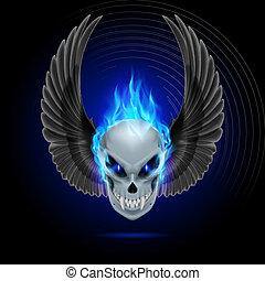 Flaming mutant skull - Mutant skull with long fangs, blue ...