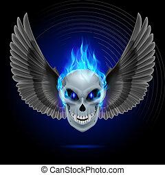 Flaming mutant skull