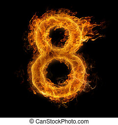 Flaming Number - Fiery number eight
