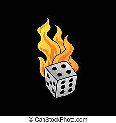 flaming on fire burning white dice risk taker gamble vector...