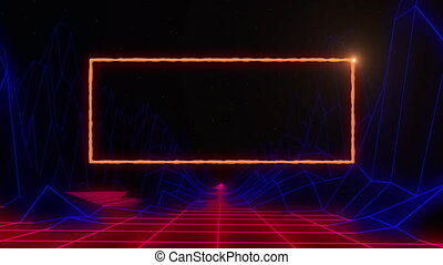Flaming orange rectangle outline over moving blue and red grid on black background. vintage colour and movement concept digitally generated image.