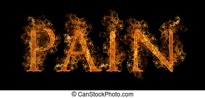 Flaming Pain Text - The Word Pain In Flaming Hot Text