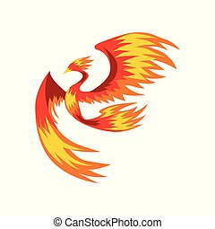 Flaming phoenix bird flying, bright mythical firebird vector...