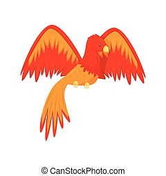 Flaming Phoenix bird mythical creature, fairy tale character...