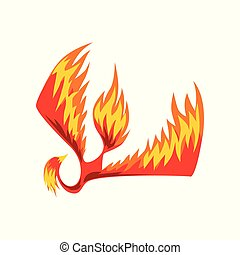 Flaming phoenix bird, mythical firebird vector Illustration...