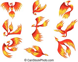 Flaming phoenix bird set, fairy tale character from Slavic...