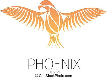 Flaming Phoenix Bird with wide spread wings in the orange fire colors on white background. Symbol of reborn and regeneration. EPS10 vector illustration