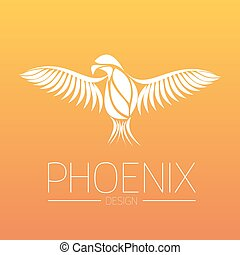 Flaming Phoenix Bird with wide spread wings in white on orange fire colors background. Symbol of reborn and regeneration. EPS10 vector illustration