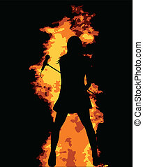 Flaming Pop Star - An abstract fire background with a girl...
