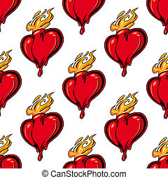 Flaming red heart seamless pattern