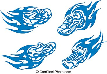 Flaming running or sports shoes