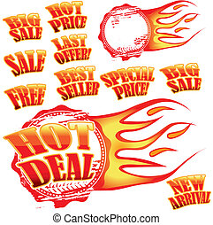 Set of hot vector sale stickers and rubber stamp with flames
