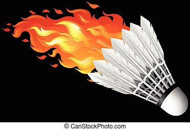 Flaming shuttlecock on black illustration