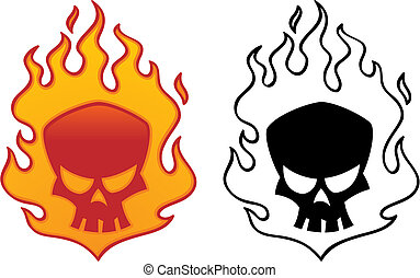 Flaming Skull - Flaming skull vector illustration. Cool...