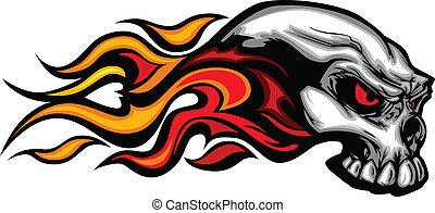 Flaming Skull Graphic Vector Image - Skull on Fire with ...