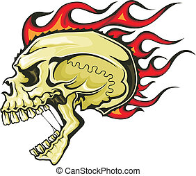 flaming skull - brown skull with red flaming hair