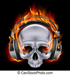 Flaming skull in headphones. - Flaming metal skull in...