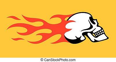 Flaming Skull Retro Hot Rod, Motorcycle Design