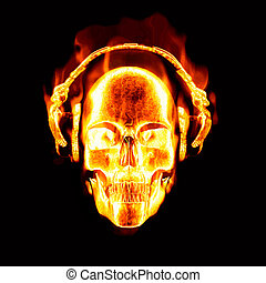 flaming skull with headphones - great image of flaming skull...