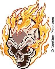 Flaming Skull.eps - Flaming cartoon skull. Vector clip art...