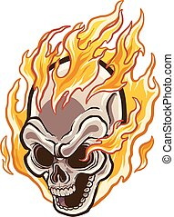 Flaming Skull.eps - Flaming cartoon skull. Vector clip art...