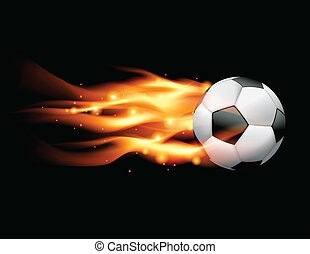 A flaming soccer ball flying against a black background. Vector EPS 10 available. EPS file contains transparencies and gradient mesh.