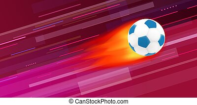 Flaming soccer ball on abstract background vector illustration