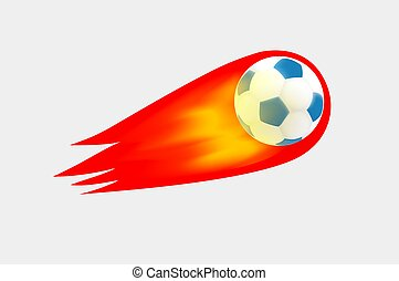 Flaming soccer ball on transparent background