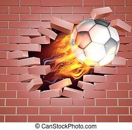 Flaming Soccer Football Ball Breaking Through Brick Wall -...
