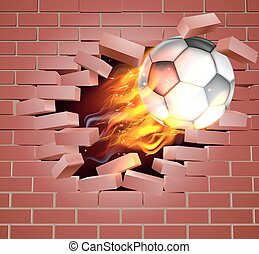 An illustration of a burning flaming Soccer Football ball on fire tearing a hole through a brick wall
