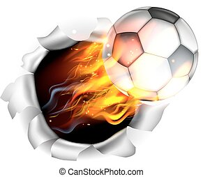 Flaming Soccer Football Ball Tearing a Hole in the Background