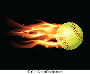 Flaming Softball Illustration - An illustration of a flaming...
