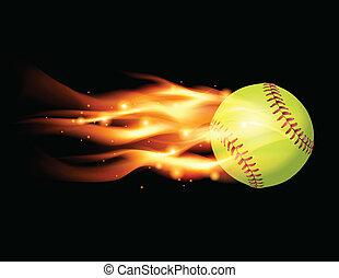 Flaming Softball Illustration - An illustration of a flaming...