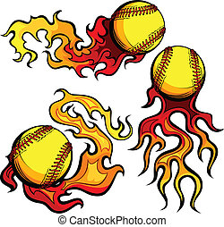Flaming Softballs with Flames Vecto - Graphic Flaming...