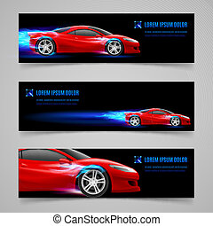 Flaming speed - Set of banners with racing car in blue flame