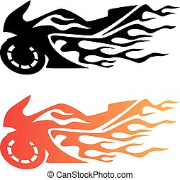 Hot looking flaming sportbike motorcycle logo, clean lines, in black and color.