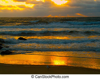 Flaming Sunrise Ray - Flaming Sunrise on the ocean in...