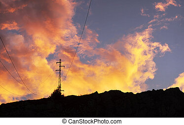 Flaming Sunset on the Power Line